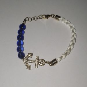 "Blue and White Anchor Bracelet 3"" Gold Clasp"